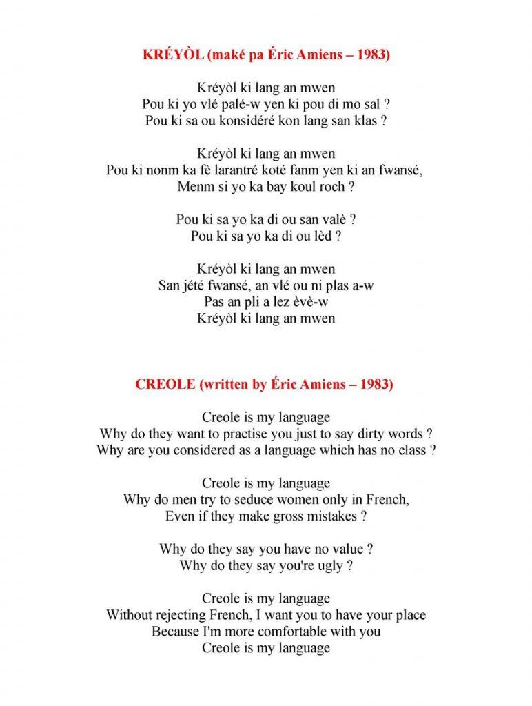 Poème Créole & Traduction Anglaise B