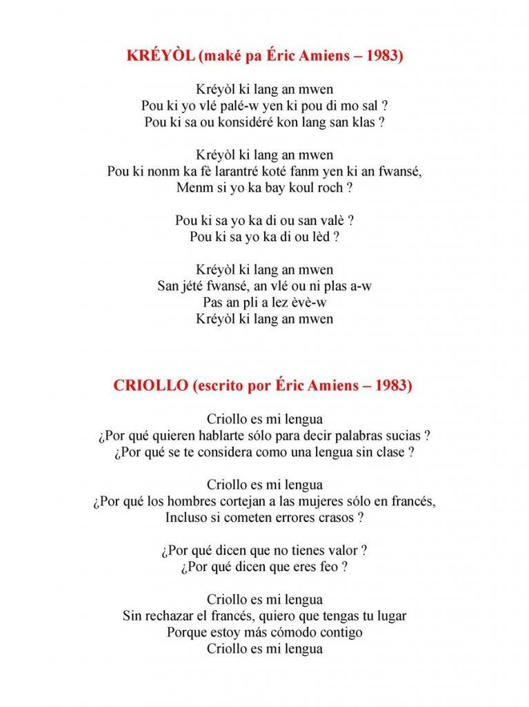 Poème Créole & Traduction Espagnole C