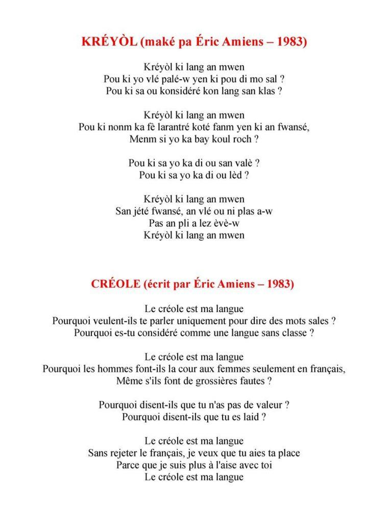 Poème Créole & Traduction Française A