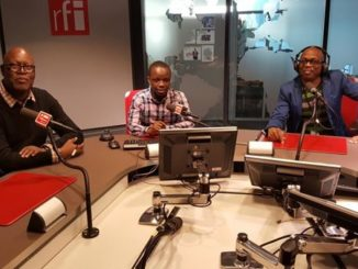 "Sayouba Traoré (journalist, RFI), Daniel Rugamika (lawyer & member of the Club RFI Bukavu in the Democratic Republic of Congo) and Éric Amiens (journalist, RFI) who presents the programme ""Le Club RFI"". Photo: RFI"