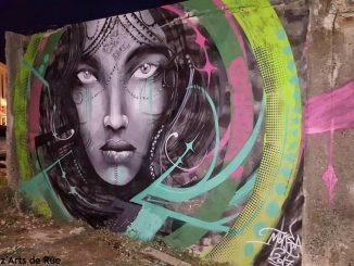 Una obra del artista grafitero Moksa