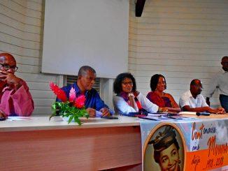 (De gauche à droite) Henri Bistoquet, Georges Brédent, Winny Kaona, Coréta Mouéza, Eddy Compper, Fred Liban / Photo: Évelyne Chaville