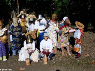 """Les Masques de Vieux-Fort dressed as """"Mas a Pilé Kafé"""". (Photo: Les Masques de Vieux-Fort)"""